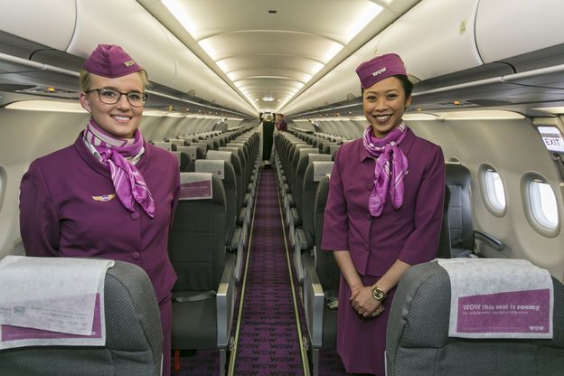 Members of WOW air's crew in our brand new Airbus A321 aircraft during the…