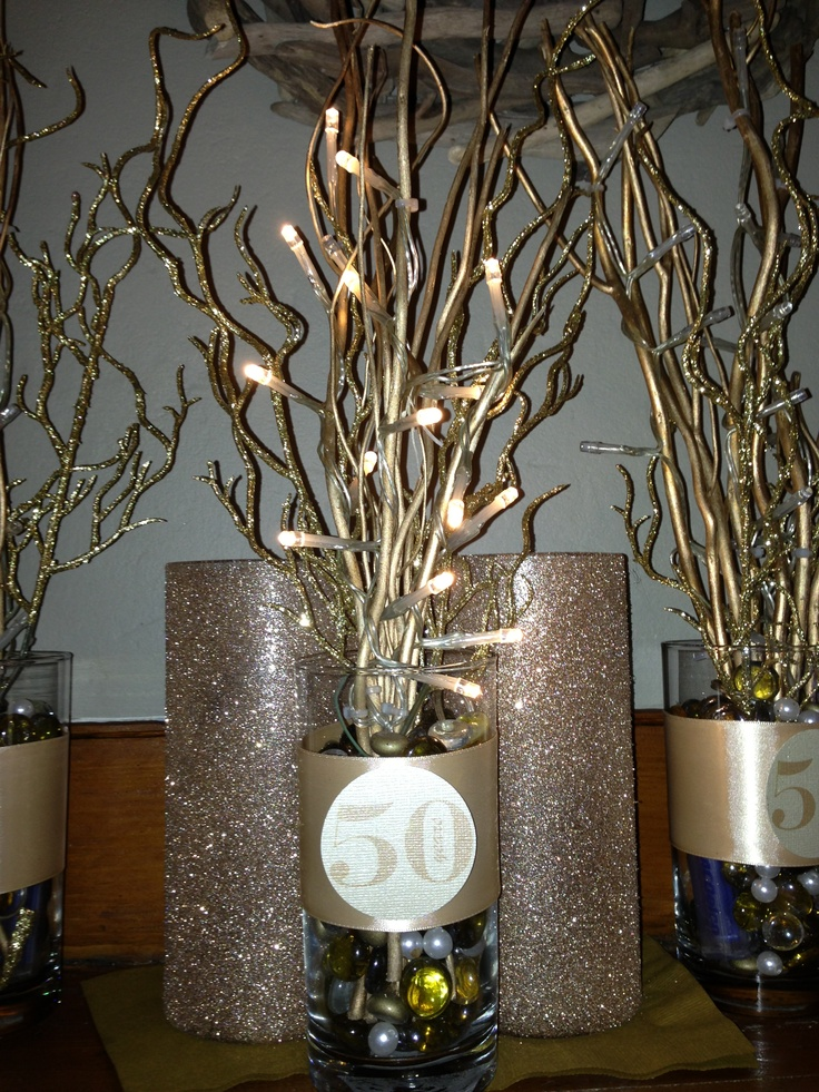 50 th anniversary centerpiece formal party ideas pinterest for Decoration 50th birthday party ideas