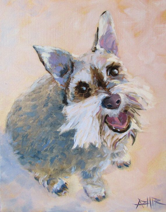 The Happy Dog Painting by Hirschten- original available on Etsy