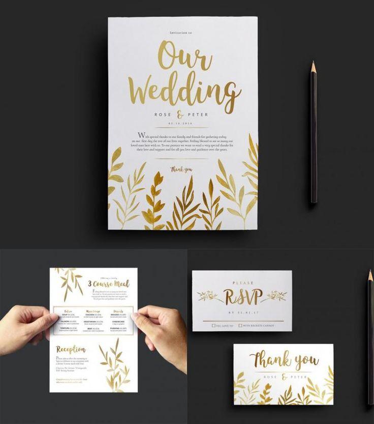 Free Gold Watercolor Wedding Invitation Templates