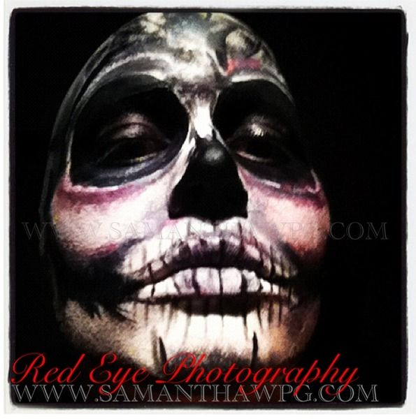 Hand Painted Skull Make up By SamanthaWpg.com https://www.makeupbee.com/look.php?look_id=84938