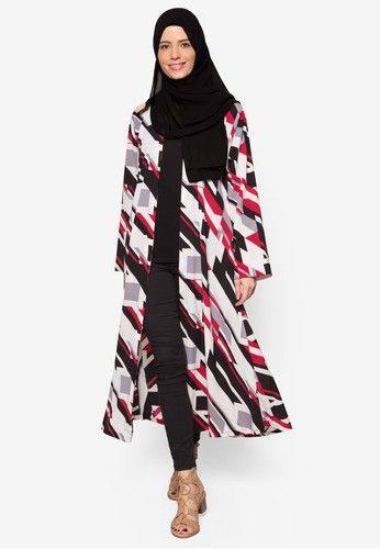Long Printed Cardigan from Maya Abaya in white and red_1