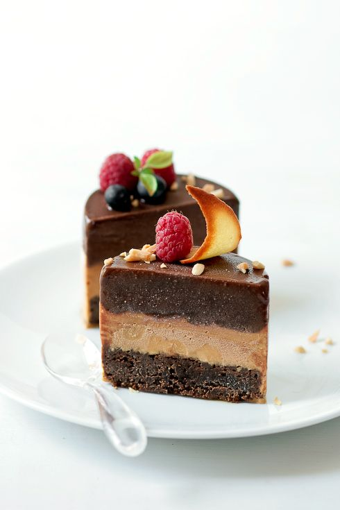 Chocolate Torte, Caramel Ice Cream and Chocolate Sorbet: This looks spectacular!