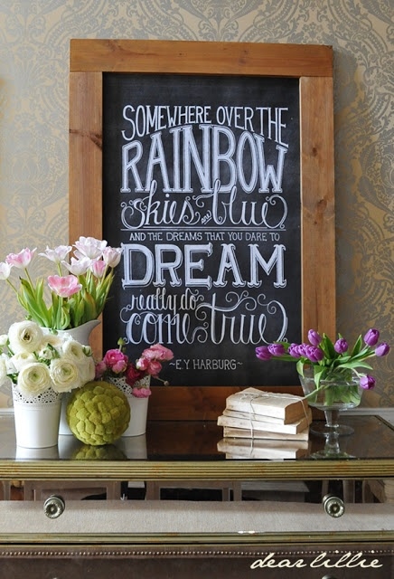 Somewhere over the rainbow...  chalkboard art prints in 8x10, 11x14 or DIY printable 24x36 poster size  {Dear Lillie} ... use as backdrop for rainbow-themed kindergarten graduation party?