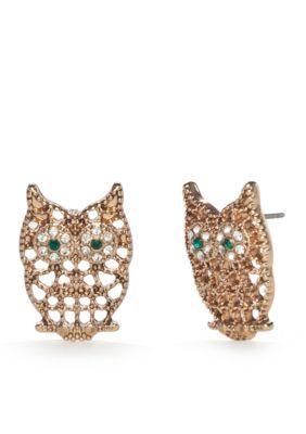 Red Camel  Gold-Tone Spirit Animal Owl Button Earrings