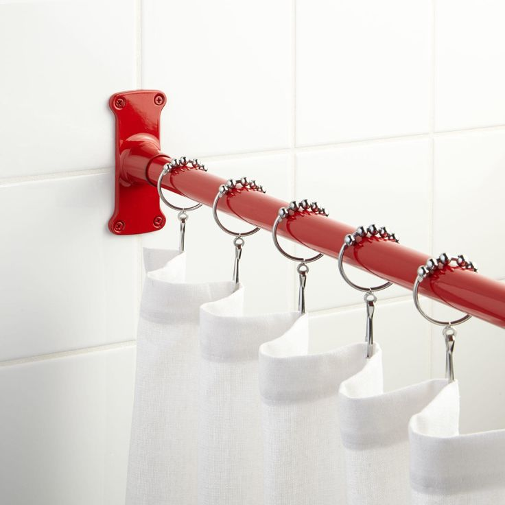 Straight Red Shower Curtain Rod