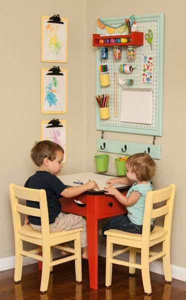Great Upcycled Kids Art Station by So You Think You're Crafty! Can easily be done up as a homeschool supply station.