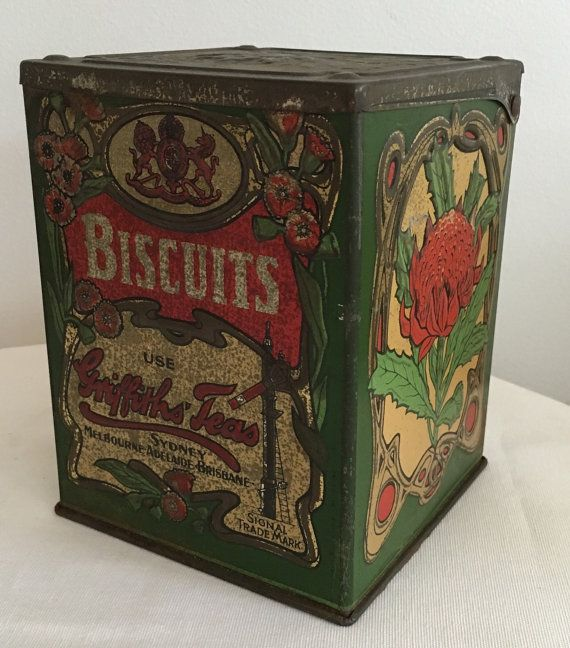 Griffiths Teas Biscuit Tin Vintage 1927 by modernlookvintage