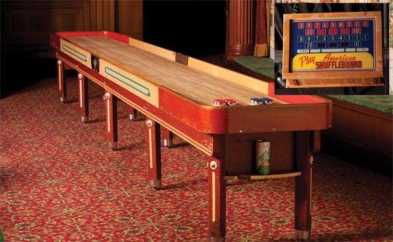 271: 22 Foot American Shuffleboard Table W/ Scoreboard On