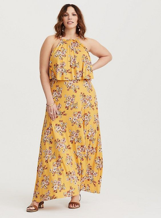 08b9e2f5bda Yellow Floral Cutaway Jersey Maxi Dress (Short Inseam Now Available ...