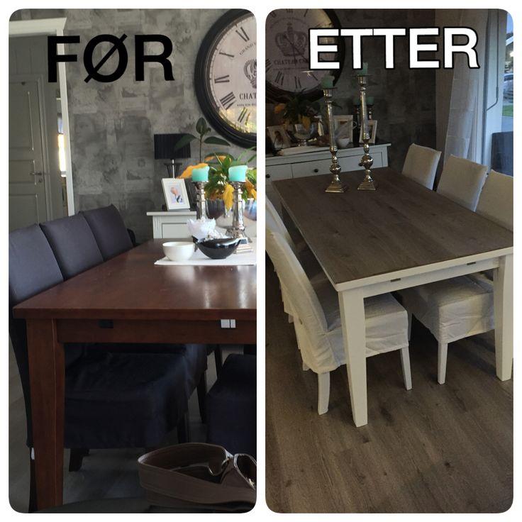 Her har jeg tatt min gamle spisestue som var mørk å trist og malet med heffgrund, hvit maling, lagt Klikk laminat på toppen av bordet og festet det med lister.. Så bordplaten går i ett med gulvet mitt.. Så enkelt og morsomt:)