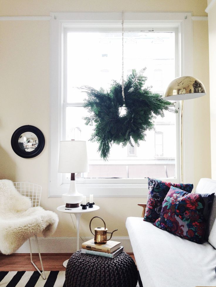 hang a wreath instead of a tree for small spaces