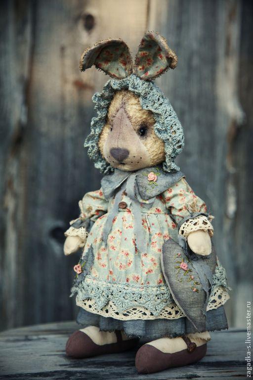 Купить Зайка в голубом. - голубой, зайка, винтаж, винтажный стиль, сувениры и подарки, чердачная игрушка