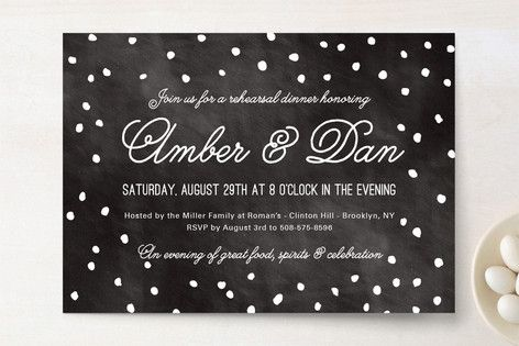 Enchanted Evening Rehearsal Dinner Invitations by Yay Papers at minted.com  White with Black Polka Dots