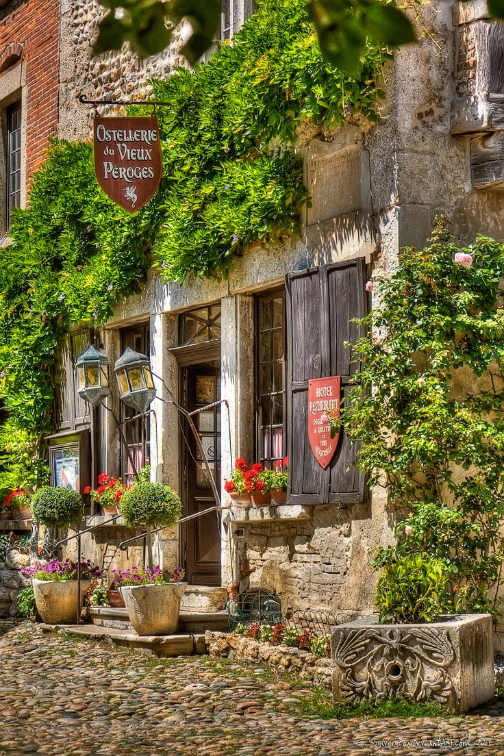 Perouges, Ain (), Rhône-Alpes, France. Medieval walled town. Given its authentic historical appearance, Pérouges is often used as the setting for period films by French film directors.