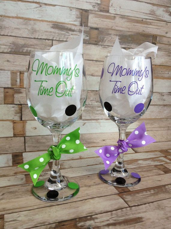 Mommys Time Out Wine Glass by Justcheerbows on Etsy, $12.95