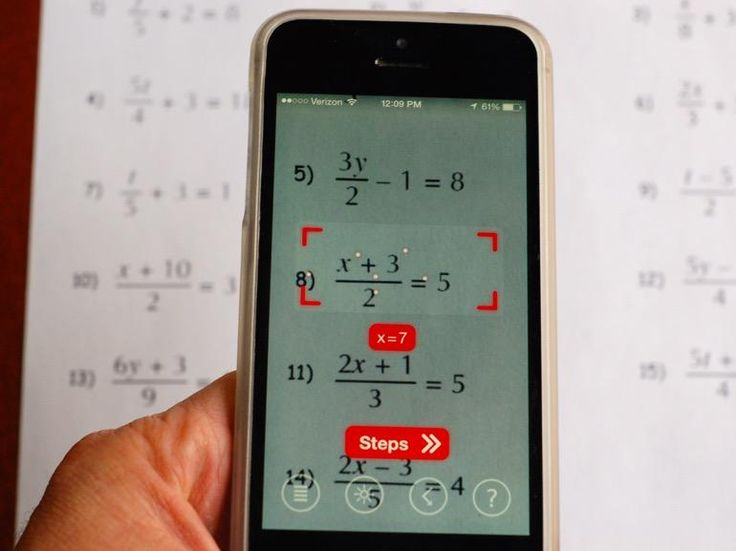 Use your smartphone camera with this app (PhotoMath) to solve equations and show you step-by-step directions.  Free and available for iOS and Windows phones.  The Android version will be available in early 2015.