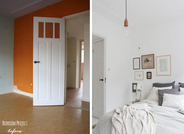 Bedroom and closet before and after found on http://inredningsvis.se/ blog