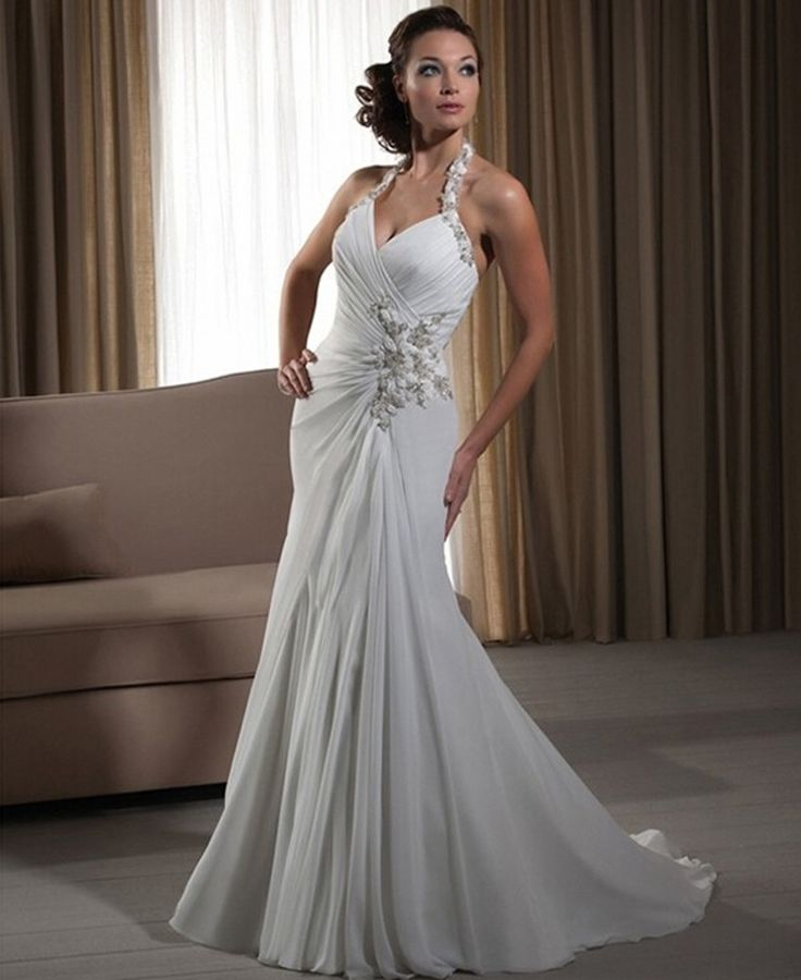 Trending Click to Buy uc uc Vintage Women Simple Chiffon Backless Cheap Mermaid Wedding Dresses
