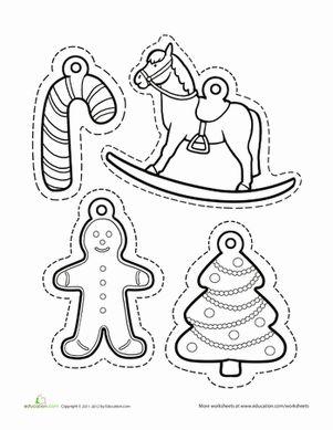 Natale Inverno Kindergarten Paper Progetti Fogli di lavoro: Ornamento di Natale da colorare