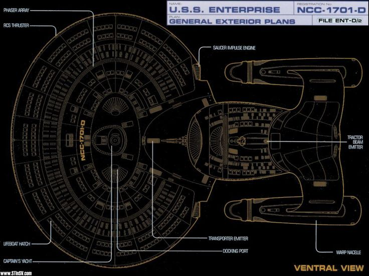 schematic, ventral view, of u.s.s. enterprise ncc-1701 d | star, Schematic