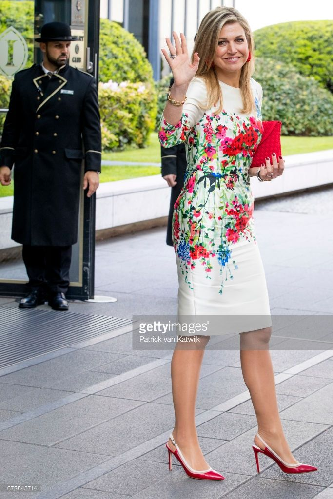Queen Maxima of The Netherlands leaves the W20 conference on April 25, 2017 in Berlin, Germany. The conference, part of a series of events in connection with Germany's leadership of the G20 group of nations this year, focuses on women's empowerment, especially through entrepreneurship and the digital economy.