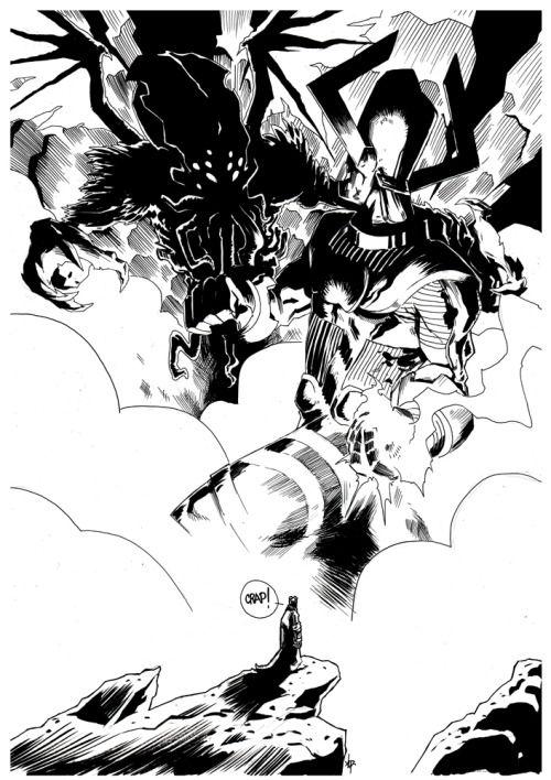 Galactus vs Cthulhu vs Hellboy [Black ink on A3 240g smooth] by job