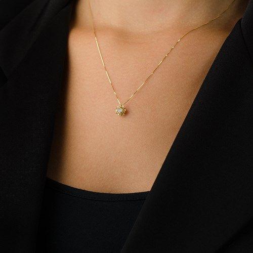 Gargantilha em Ouro 18k Chuveiro Diamantes ga02677 - Joiasgold