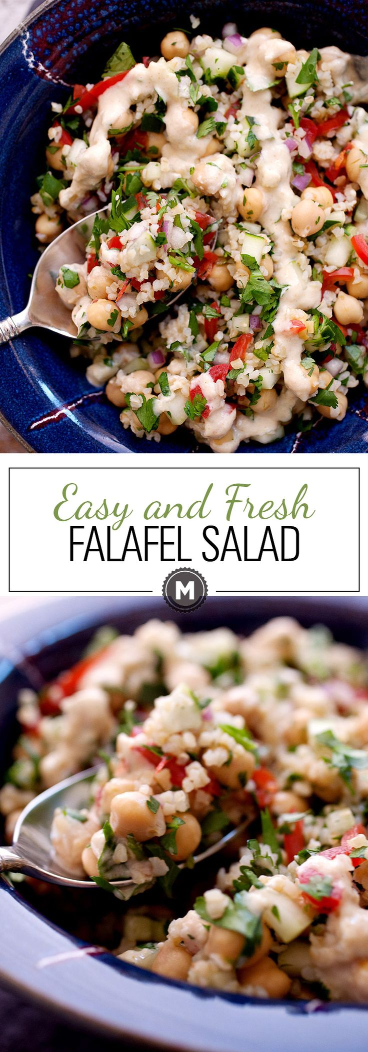 Easy and Fresh Falafel Salad: All the ingredients of a traditional falafel tossed in a quick and fresh salad! Chickpeas, bulgar, loads of herbs, and fresh, crunchy veggies plus a simple Tahini dressing. Great side dish or light lunch! | macheesmo.com