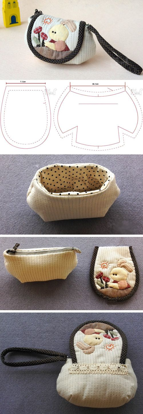 Small Patchwork Quilted Coin  Purse. Sewing Tutorial. http://www.free-tutorial.net/2016/12/quilted-coin-purse-diy.html