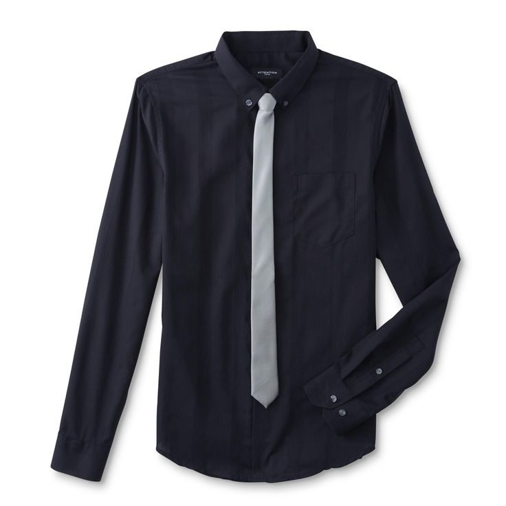 Big and tall mens black dress shirts