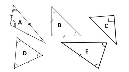 Five Triangle ID and Classification Maths Mastery PowerPoints including 23 identification questions