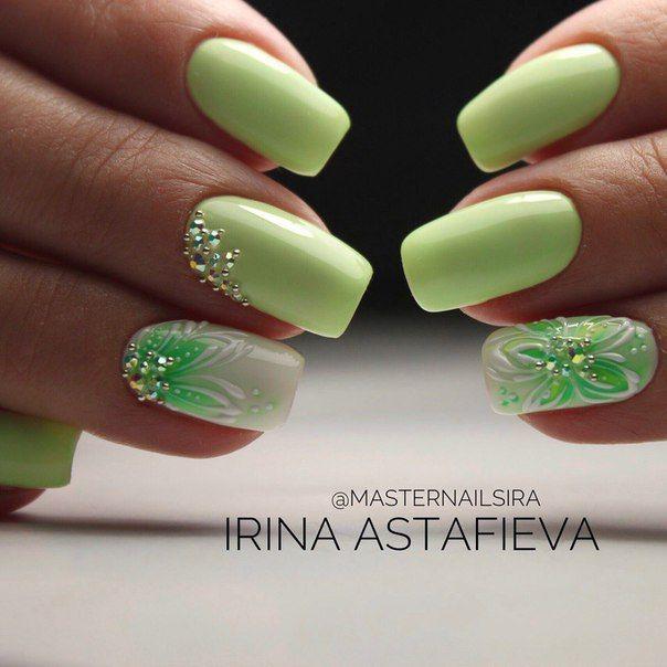 Manikyur Dizajn Nogtej Green Nails Trendy Nails Spring Nail Art