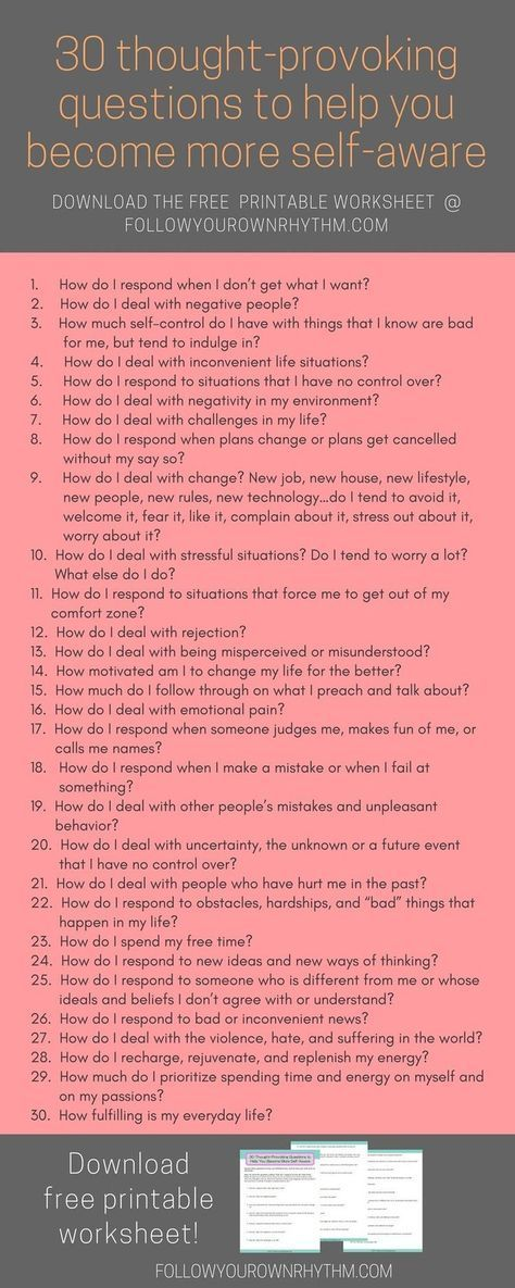 If you are looking to improve your life and become more self-aware, then let these 30 thought-provoking questions guide you to see how you respond to certain life situations, so that you can figure out what works and what doesn't, and make positive changes accordingly. Comes with free downloadable worksheet!--personal growth   personal development   self discovery   questionnaire   self reflection   self awareness