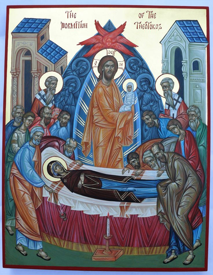 Dormition of the Most Holy Theotokos, hand painted orthodox icon by Georgi Chimev