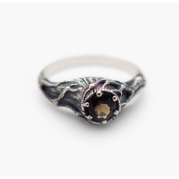 Smoky Quartz Ring, Tree Ring, Witch Ring, Gemstone Ring, Brown Stone... ($109) ❤ liked on Polyvore featuring jewelry, rings, gem jewelry, stone jewelry, brown ring, smokey quartz jewelry and gem stone rings