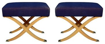 Pair Of 1940s-1950s Stainwood Upholstered Benches Of X-Form - traditional - bedroom benches - 1stdibs