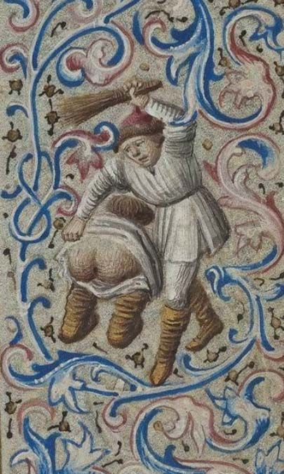 Koninklijke Bibliotheek, KB 74 G 37, detail of f. 83r. Book of Hours of Simon de Varie. Paris, 1455.
