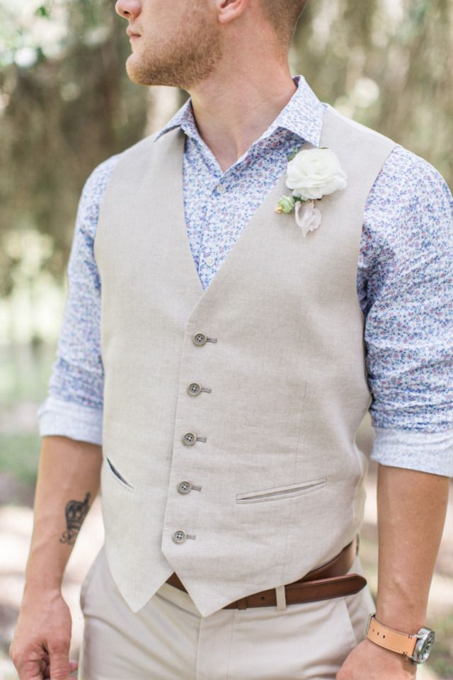 blue and khaki groom with vest