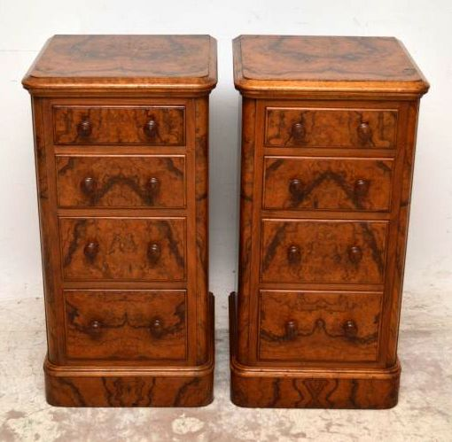 Stunning pair of antique Victorian burr walnut bedside chests in good condition. There is a beautiful pattern of burr walnut figuring on the tops, drawer fronts, curved corners & even on the base plinths. One of the drawers is a double & all the drawers look like they have the original handles. This pair of chests have a lovely original mellow colour & are full of character, with natural distressing in the wood.