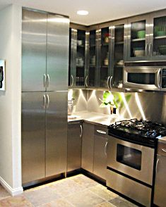 stainless steel kitchen cabinets from lasertron #kitchen #stainlesssteel