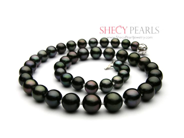 Black Cultured Tahitian Pearl Necklace , 11mm-12mm , AAA, 1001-TBR8118 | ShecyPearls Necklace