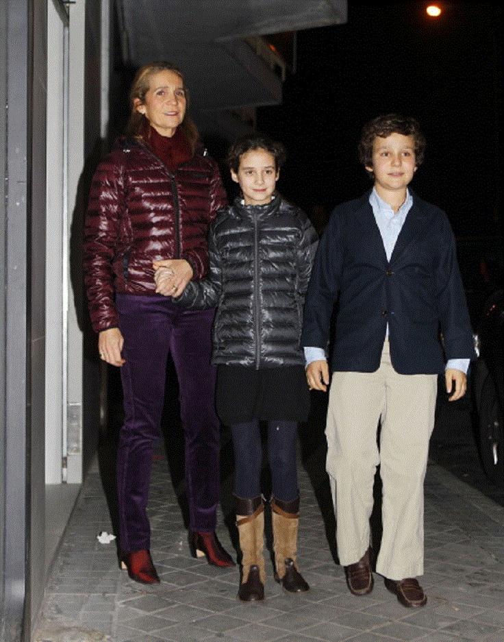 Infanta Elena of Spain celebrates her 49th birthday with her son Felipe Juan Froilan de Marichalar and Victoria Federica de Marichalar on 20 Dec 2012 in Madrid