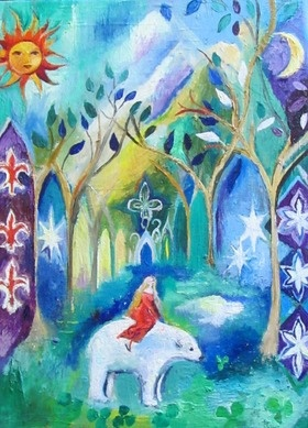 East of the Sun and West of the moon is a Norwegian fairytale. The princess rides the polar bear to the ice palace.