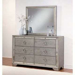 ABBYSON LIVING Valentino Mirrored 6-drawer Dresser and Mirror Set - 18723070 - Overstock - Great Deals on Abbyson Living Dressers - Mobile
