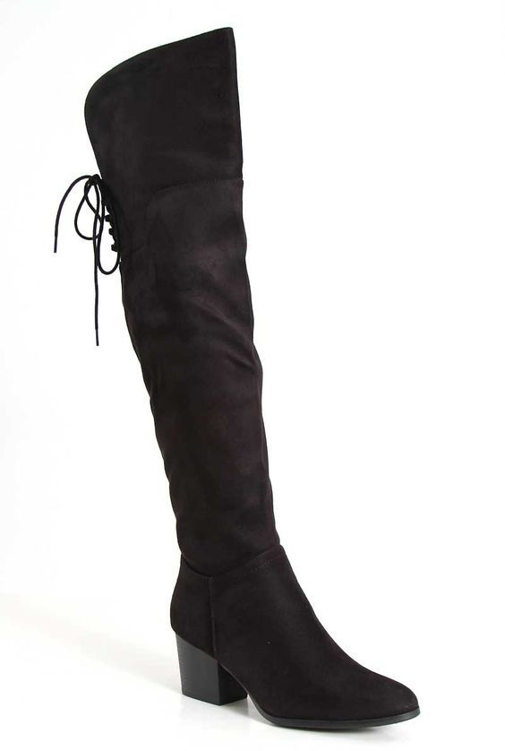 265e6f87b75 City Classified Over the Knee Heeled Boots in Black QUEST-BLK ...
