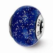 Sterling Silver Dark Blue w/Silver Glitter Italian Murano Bead Charm