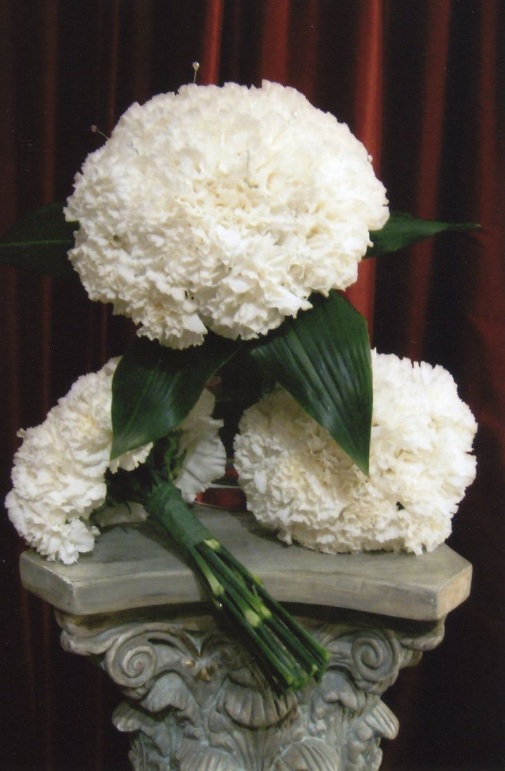 White Carnation Wedding Bouquet. Inexpensive flower, looks high end!