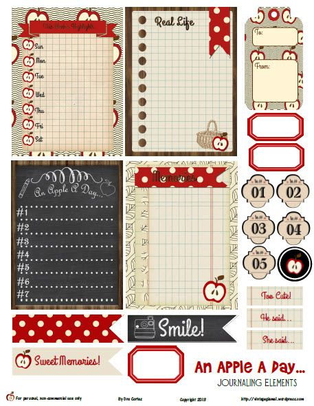 Free Printable Download -  An Apple A Day Journaling Elements