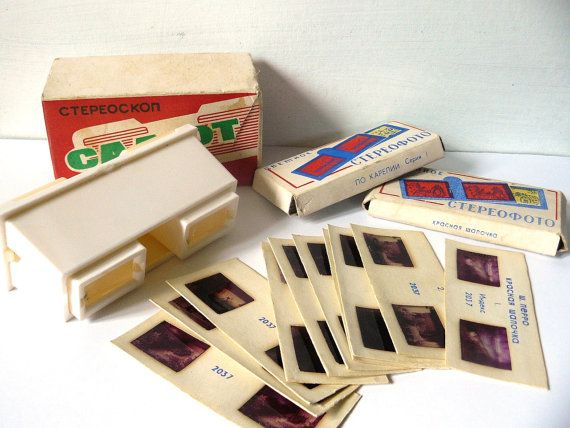 Soviet toy  Vintage Game Stereoskope with cards by AtticSpider, $25.00